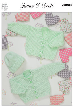 Bonnet and Cardigans in James C. Brett Baby DK and Baby Twinkle DK - JB234
