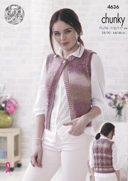 Waistcoats in King Cole Cotswold Chunky - 4636