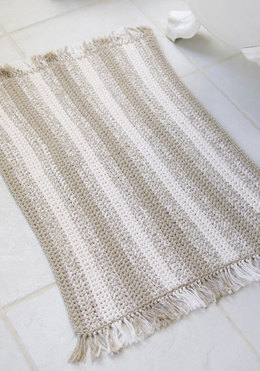 Crochet Natural Stripes Rug in Red Heart Eco-Cotton Blend Solids - WR1739