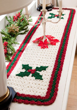 Holly Table Runner in Red Heart Holiday - LW2622 - Downloadable PDF
