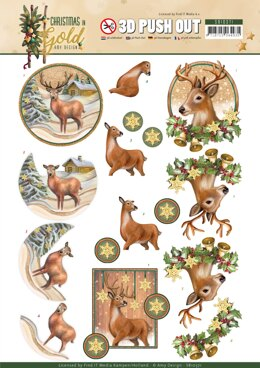 Find It Trading Amy Design Punchout Sheet - Deer, Christmas In Gold