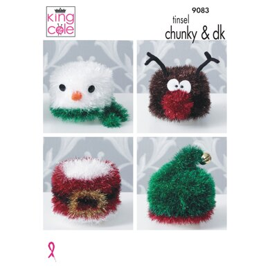 Knitted Christmas Toilet Roll Covers in King Cole Tinsel Chunky & Dollymix DK - 9083 - Downloadable PDF