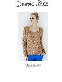 """V Neck Jumper"" - Jumper Knitting Pattern For Women in Debbie Bliss Juliet"