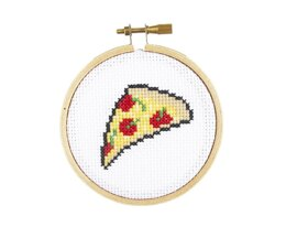The Stranded Stitch Pizza Cross Stitch Kit - 3 inches