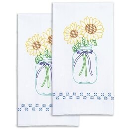 Jack Dempsey Stamped Decorative Hand Towel Pair - Sunflowers - 17in x 28in