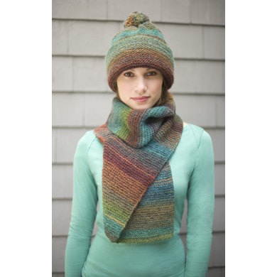 Striking Hat and Scarf in Lion Brand Amazing - 90306AD