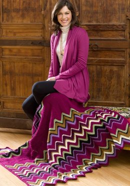 Berry Zigzag Throw in Red Heart With Love Solids - LW2895