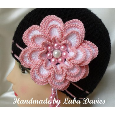 MISS ROSY crocheted hat for girls with big 4 layers flower