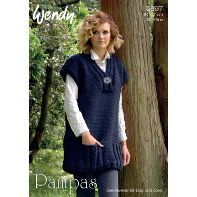 V-Neck Tunic, Cowl and Bag in Wendy Pampas - 5697