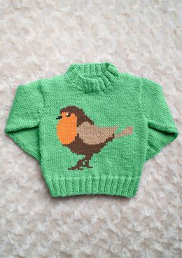 Intarsia - Robin Chart - Childrens Sweater