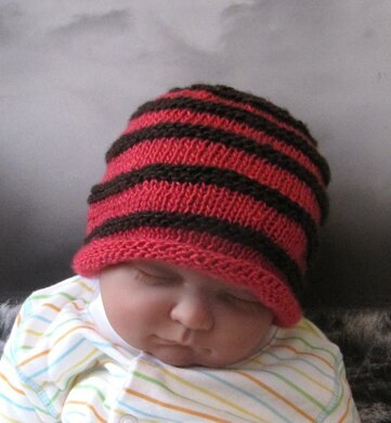 Baby Simple Stripe Roll Brim Beanie Hat Knitting pattern by ... 40be92fe192