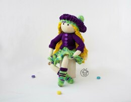 Doll Janet (Beads jointed ) knitted flat