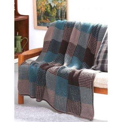 Plaid Texture Afghan in Patons Canadiana