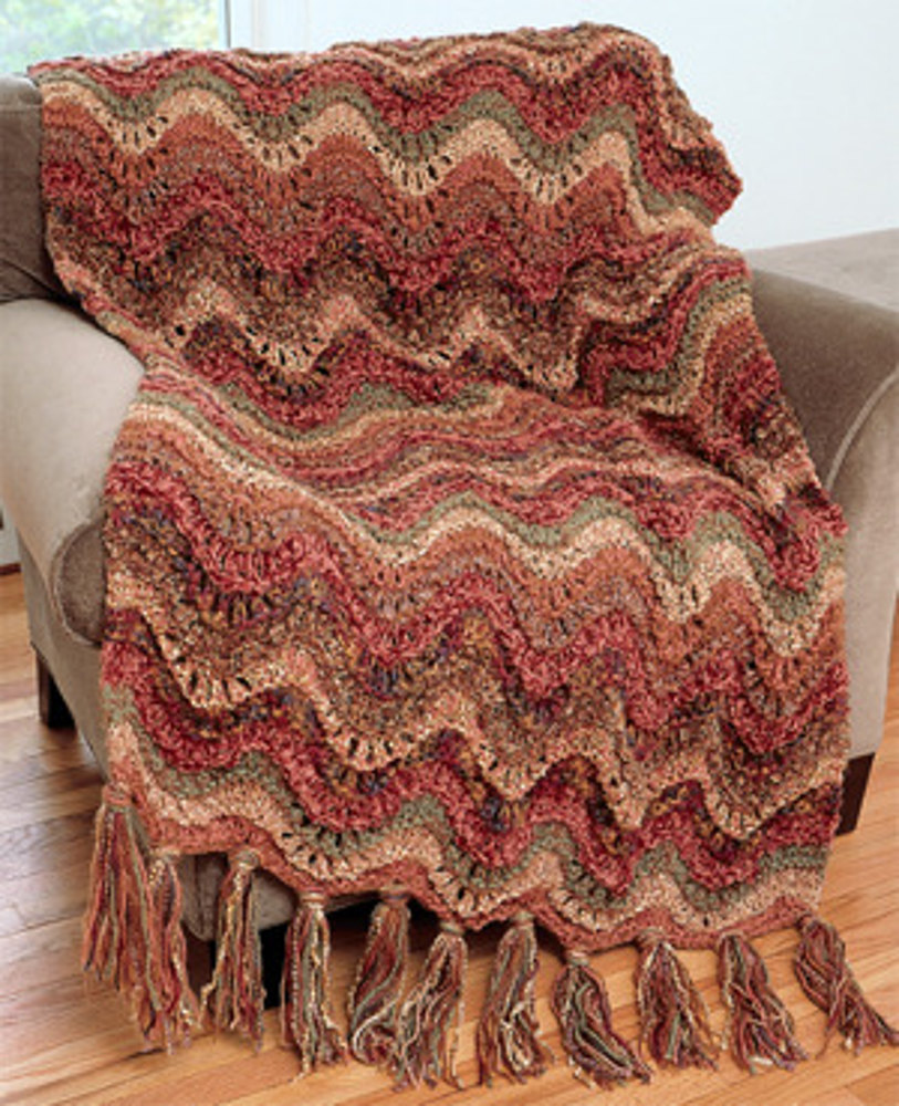 Luxury Throw Knit Pattern in Lion Brand Jiffy and Homespun - 1235A