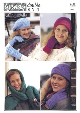 Ladies Hats, Mittens, Hooded Scarf in Wendy Merino DK - 4008