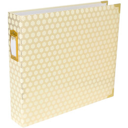 "American Crafts Project Life D-Ring Album 12""X12"" - Honeycomb Cream & Gold"