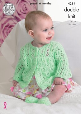 Matinee Coats, Cardigan and Shoes in King Cole DK - 4214 - Downloadable PDF
