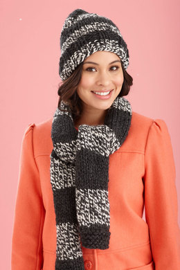 Collegiate Hat and Scarf in Lion Brand Wool-Ease Thick & Quick - L20398B