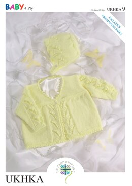 Matinee Coat and Bonnet in King Cole Baby 4 ply - UKHKA9pdf - Downloadable PDF