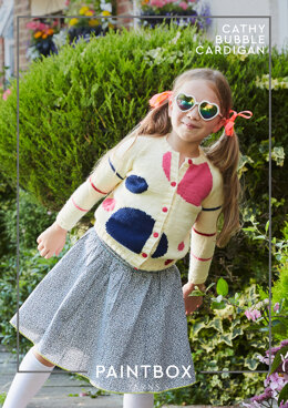 """""""Cathy Bubble Cardigan"""" - Cardigan Knitting Pattern in Paintbox Yarns Baby DK"""