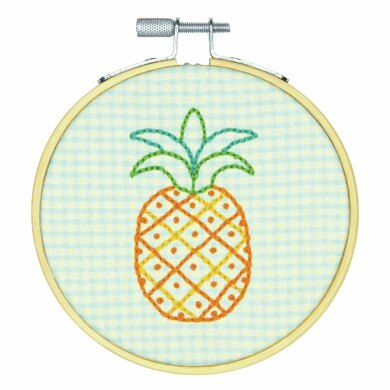 Dimensions Pineapple Pattern Crewel Embroidery Kit with Hoop - 4in (10cm)