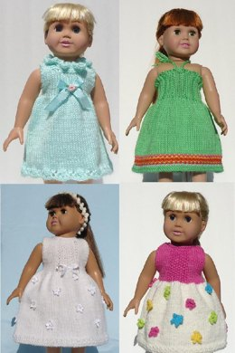 California Collection - Darling Dresses, Knitting Patterns fit American Girl and other 18-Inch Dolls