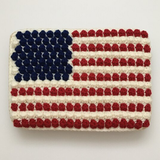US flag crocheted cake