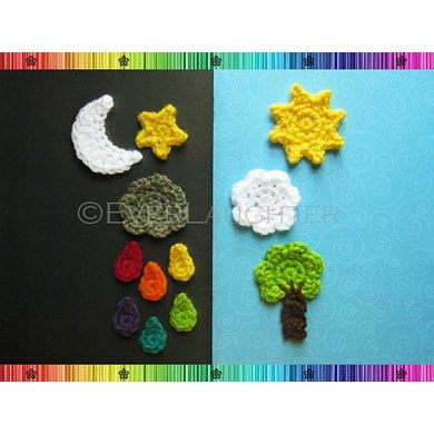 Sun Moon Star Cloud Raindrop Tree Applique Pattern Crochet Pattern