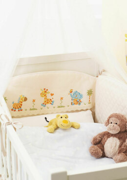 Made with Love - Happy Jungle Friends Cot Bumper in Anchor - Downloadable PDF