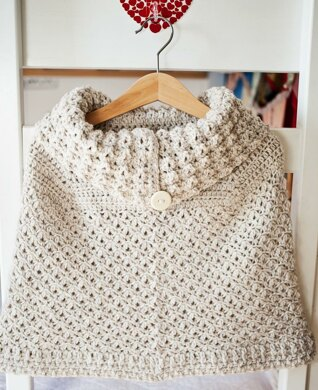 Poncho with oversized collar