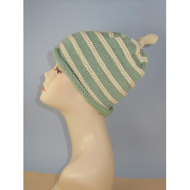 Stripey Roll Brim Topknot Slouch Hat
