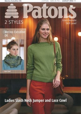 Ladies Lace Cowl and Slash Neck Jumper in Patons Merino Extrafine DK - 3943