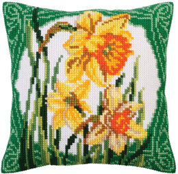 Collection D'Art Daffodils & Narcissus Cross Stitch Cushion Kit