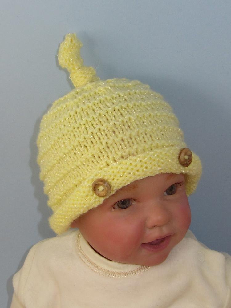 Knit Baby Hats Patterns Roll Brim : Baby Roll Brim Stripey Topknot Beanie Hat Knitting pattern by madmonkeyknits ...