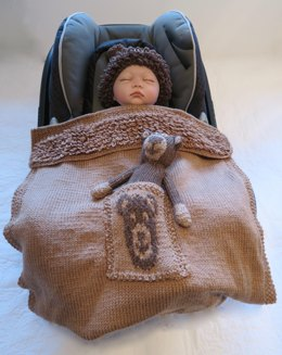 Brown Bear Baby Car Seat Blanket with Hat & Toy