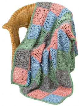 Random Squares Throw in Caron Simply Soft Heathers - Downloadable PDF