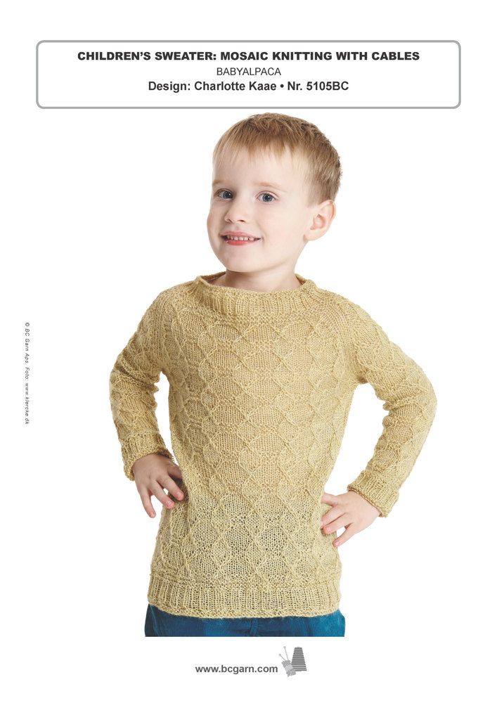 Childrens Sweater Mosaic Knitting With Cables In Bc Garn Baby