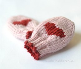 Baby mittens ' Little Hearts'