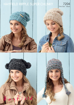 Hats in Hayfield Ripple Super Chunky  - 7204 - Downloadable PDF