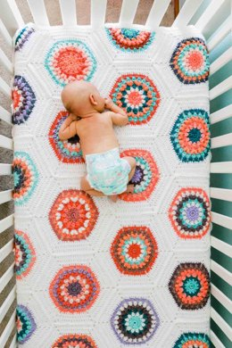 Grandmother's Flower Garden Crochet Quilt