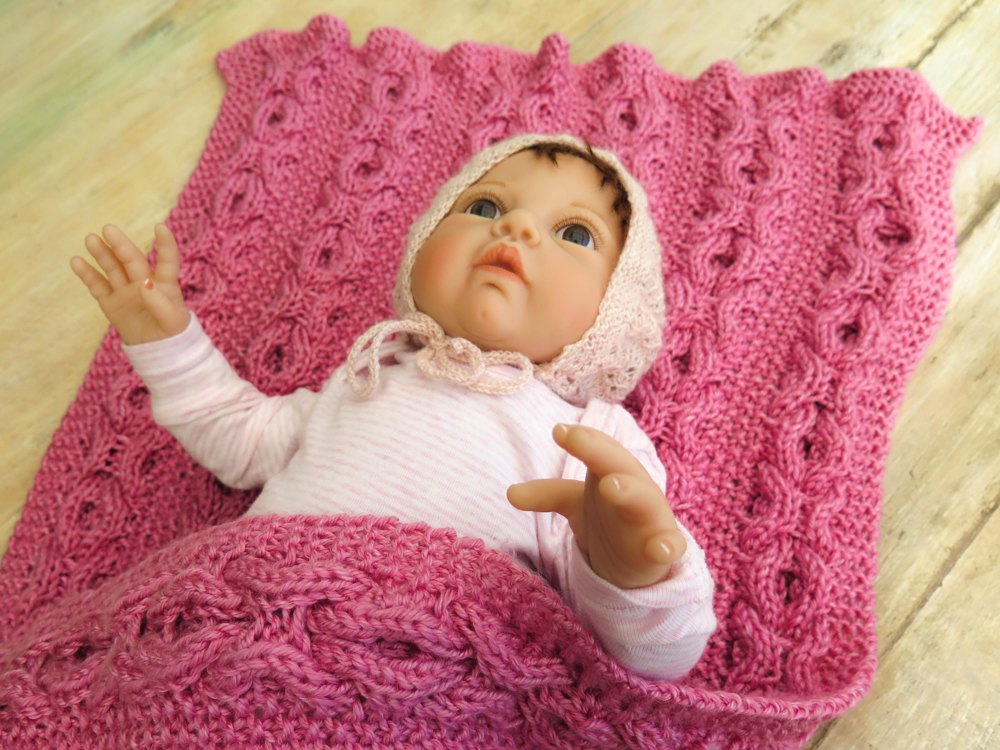 Reversible Hugs Kisses Cable Baby Blanket Knitting Pattern By