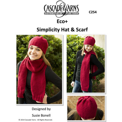 Simplicity Hat And Scarf In Cascade Eco C254 Knitting Patterns