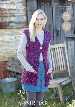 Long and Short Waistcoats in Sirdar Husky - 7327 - Downloadable PDF