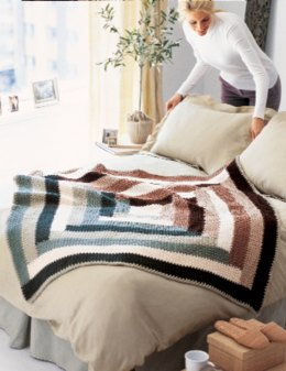 Quilt-Inspired Throw in Red Heart Super Saver Economy Solids - KCT0002