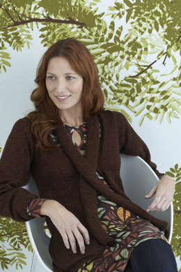 Audrey Cardigan with Scarf in Lion Brand Vanna's Glamour - 80707AD