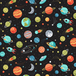 Makower Outer Space - Planets Black