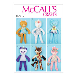 McCall's Soft Toy Animals M7819 - Paper Pattern All Sizes In One Envelope