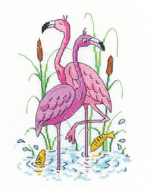 Heritage Crafts Flamingos Cross Stitch Kit - Multi