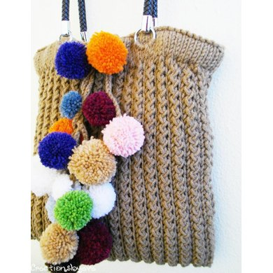 Large tote with colorful pom poms