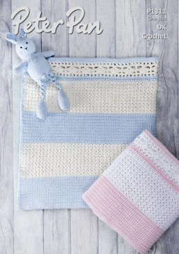 Crochet Blanket in Peter Pan Baby Cotton DK - P1311 - Downloadable PDF